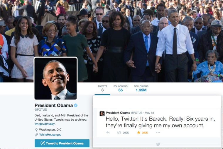 POTUS 1st tweet with background JPEG